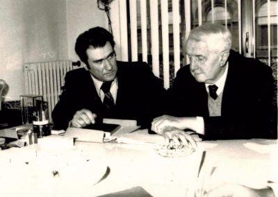 Mario Grasso con Carlo Bo (Bologna, sede Edagricole)